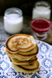Pancakes and yogurt Stock Photos