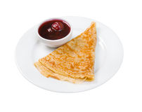 Pancakeswith cerise jam Stock Photo