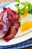 Pancetta affumicata ed uova Fotografia Stock Libera da Diritti
