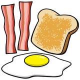 Pancetta affumicata, uova e pane tostato Immagini Stock Libere da Diritti