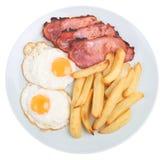 Pancetta affumicata, uovo & patatine fritte Fotografie Stock Libere da Diritti