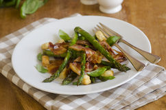 Pancetta with asparagus Stock Photography