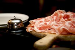 Pancetta with a bell royalty free stock image