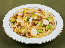 Pancetta and Brussel Sprout Linguine Royalty Free Stock Photography