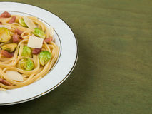 Pancetta and Brussel Sprout Linguine Royalty Free Stock Photos