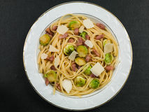 Pancetta and Brussel Sprout Linguine Stock Photos