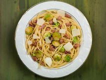 Pancetta and Brussels Sprouts Linguine Royalty Free Stock Image
