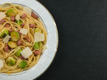 Pancetta and Brussels Sprouts Linguine Stock Image