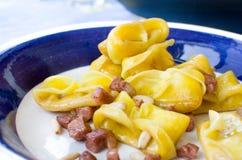 Pancetta d'escroquerie de zucca d'alla de cappellacci de Ricetta Photos stock