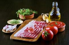 Pancetta en Ingrediënten Royalty-vrije Stock Foto