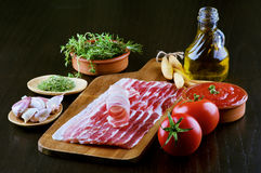 Pancetta and Ingredients Royalty Free Stock Photo
