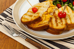 Pancetta Mac and Cheese Panini. Grilled Macaroni and Cheese Sandwich. Selective focus Stock Photos