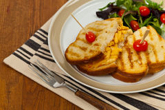 Pancetta Mac and Cheese Panini. Grilled Macaroni and Cheese Sandwich. Selective focus Stock Image