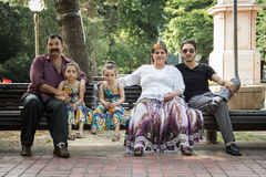 PANCEVO, SERBIA - JUNE 13, 2015: Portrait of a Roma family wearing traditional costumes Royalty Free Stock Photos
