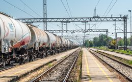 Pancevo, Serbia - 6.12.2018 : Tanks with gas and oil transportation by railroad stock photography