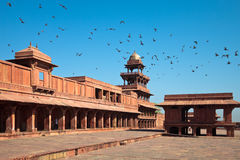 Panch Mahal at Fatehpur Sikri. Panch Mahal and the Girl's School in the courtyard of Fatehpur Sikri, India Stock Images