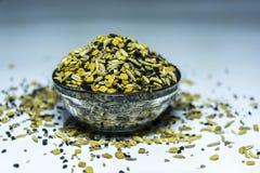 Panch Phoron - uma mistura de cinco SpicesMasala indiano imagem de stock