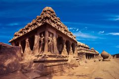 Panch Rathas Monolithic Hindu Temple. India Royalty Free Stock Photography