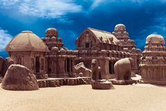 Panch Rathas Monolithic Hindu Temple. India Stock Photography