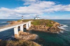 Pancha island lighthouse in Ribadeo coastline, Galicia, Spain.  royalty free stock photo
