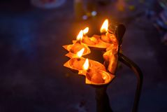 Pancha pradip is used as an offering to God in worship royalty free stock photography