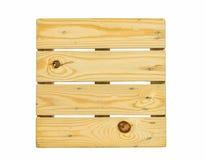 Panchetto di legno quadrato di Brown isolato su fondo bianco Fotografia Stock