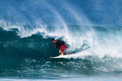 Pancho Sullivan Surfing at Rocky Point in Hawaii Stock Photo