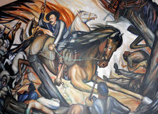 Pancho Villa. Pic of a Mural of Pancho Villa fighting the Mexican Revolution, at Goverment Palace at Chihuahua City, Mexico