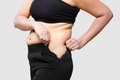 Pancia del grasso corporeo delle donne Immagini Stock Libere da Diritti