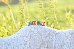 Pancia incinta con il blocco su  Fotografie Stock