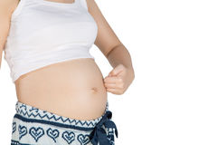 Pancia incinta con il simbolo delle dita Immagini Stock Libere da Diritti
