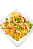 Pancit, Filipino noodle dish corner view. Filipino Pancit  with shrimp, chicken and pork Stock Images