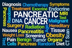 Pancreatic Cancer Word Cloud. On Blue Background vector illustration