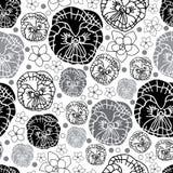 Pancy i kwiaty w kwiat bezszwowej powtórce deseniujemy tło w Czarny I Biały royalty ilustracja