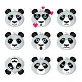 Panda εικονιδίων χαμόγελου emoticons Στοκ Εικόνες