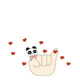 Panda και ένα μικρό δάχτυλο στοκ φωτογραφία με δικαίωμα ελεύθερης χρήσης