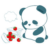 Panda και φράουλα Στοκ φωτογραφία με δικαίωμα ελεύθερης χρήσης