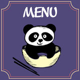 Panda με ένα πιάτο με chopsticks, τις επιλογές ή το έμβλημα Στοκ Εικόνα