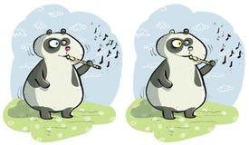 Panda με το οπτικό παιχνίδι διαφορών φλαούτων Στοκ Εικόνες