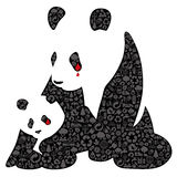 Panda της Κίνας φιαγμένο από εικονίδια οικολογίας απεικόνιση αποθεμάτων