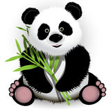 Panda. Illustration curious panda on stem of the bamboo Stock Photos