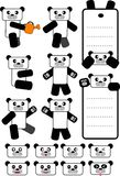 Panda. Vector illustration for 16 type of panda bear design: massage board, emotion, action Royalty Free Stock Image