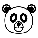 Panda. Outline cartoon head of panda isolated on white background Royalty Free Stock Photography