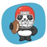 Panda American Football Player Holding-Bal Stock Afbeeldingen