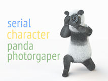 Panda animail character photographer camera takes picture  background 3d cg render illustration Royalty Free Stock Image