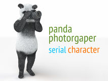 Panda animail character photographer camera takes picture isolated background 3d cg render illustration Royalty Free Stock Image