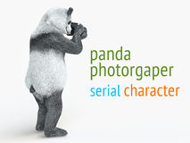 Panda animail character photographer camera takes picture isolated background 3d cg render illustration Royalty Free Stock Images