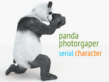 Panda animail character photographer camera takes picture isolated background 3d cg render illustration Royalty Free Stock Photo