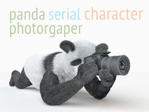 Panda animail character photographer camera takes picture isolated background 3d cg render illustration Stock Images