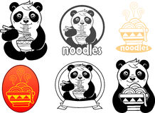 Panda with an appetite for eating noodles Stock Photo